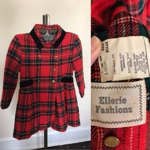 Vintage tartan red plaid coat